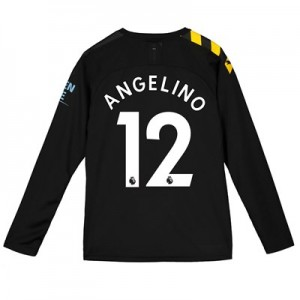 Manchester City Away Shirt 2019-20 - Long Sleeve - Kids with Angelino 12 printing