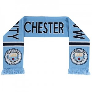 Manchester City Text Scarf - Sky/White