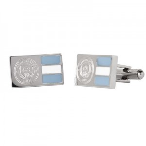 Manchester City Colour Stripe Crest Cufflinks - Stainless Steel