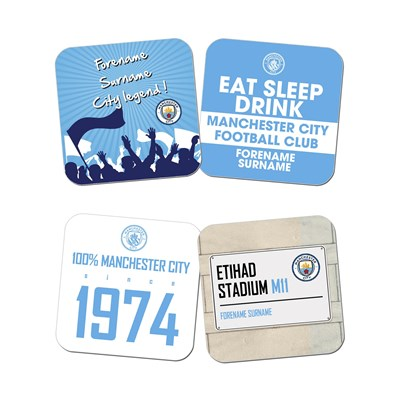 Manchester City Personalised Coasters - 4 Coasters