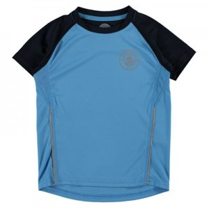 Manchester City Sport Poly T-Shirt - Azure/Reflective (2-13yrs)