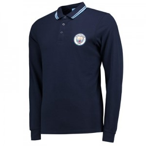 Manchester City Classic Long Sleeve Polo - Navy