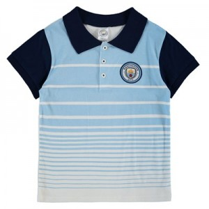 Manchester City Crest Gradient Polo - Sky/Navy (2-7yrs)