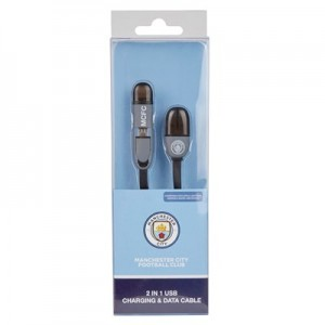 Manchester City USB Lead - compatible with Apple Lightning Android and Micro-USB