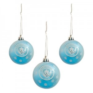 Manchester City Glitter Bauble Set - 3 Pack