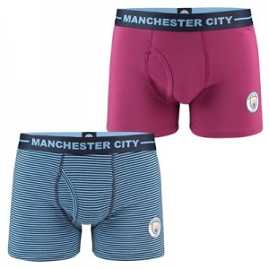 Manchester City 2 Pack Home & Away Boxers - Sky/Maroon - Mens