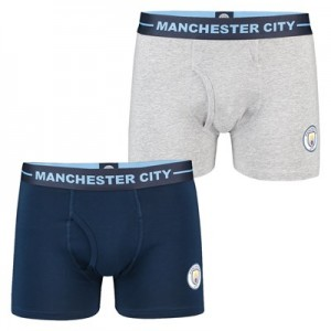 Manchester City 2 Pack Boxers - Navy/Grey - Mens
