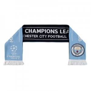 Manchester City UEFA Champions League Jaquard Scarf - Sky/Black - Adult