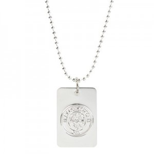 Manchester City Silver Plated Crest Dog Tag & Chain