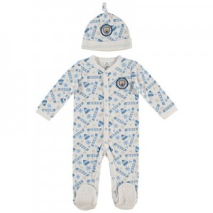 Manchester City Baby Christmas Sleepsuit - White - Unisex