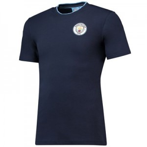 Manchester City Core Basic Tipped Collar T-Shirt - Navy- Mens