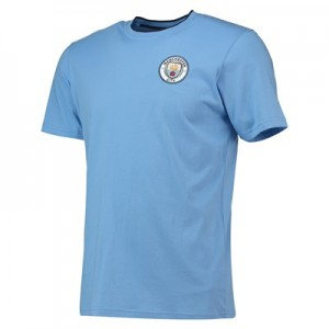 Manchester City Core Basic Tipped Collar T-Shirt - Sky- Mens