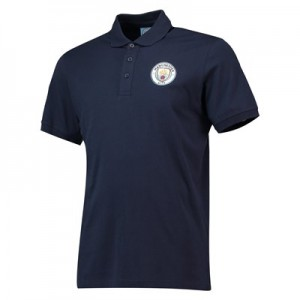 Manchester City Core Plain Short Sleeve Polo - Navy - Mens