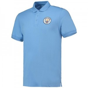 Manchester City Core Plain Short Sleeve Polo - Sky - Mens