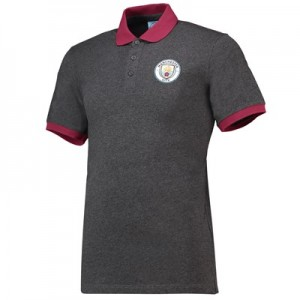 Manchester City Core Contrast Cuff / Collar Polo - Grey - Mens