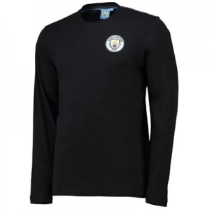 Manchester City Core Long Sleeve T-Shirt - Black - Mens