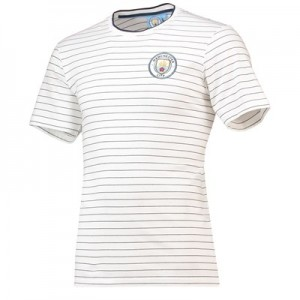 Manchester City Core fine Stripe T-Shirt - White/Navy - Mens