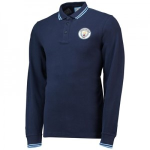 Manchester City Core Long Sleeve Tipped cuff Polo - Navy - Mens