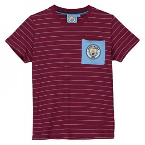Manchester City Core fine Stripe T shirt - Maroon/Sky- Junior Boys