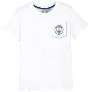 Manchester City Core Plain Pocket Contrast T shirt - White - Infant Boys