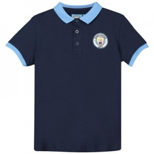 Manchester City Core Contrast Cuff and Collar Polo - Navy - Junior Boys