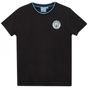 Manchester City Core Basic Tipped Collar T shirt - Black- Junior Boys