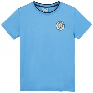 Manchester City Core Basic Tipped Collar T shirt - Sky- Junior Boys