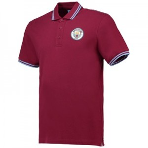 Manchester City Core Short Sleeve tipped cuf Polo- Maroon - Mens