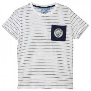 Manchester City Core fine Stripe T shirt - White/Navy- Junior Boys