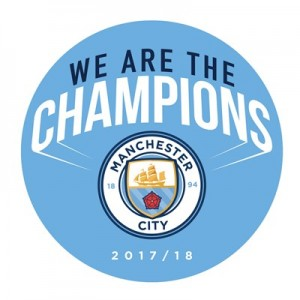 Manchester City We Are The Champions Badge
