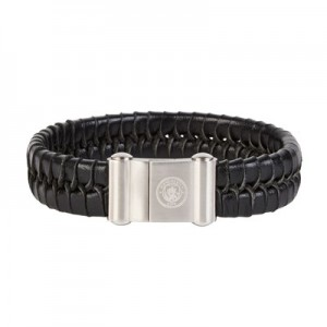Manchester City Leather Bracelet - Stainless Steel
