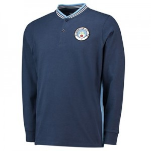 Manchester City Heritage Long Sleeve Polo - Navy - Mens