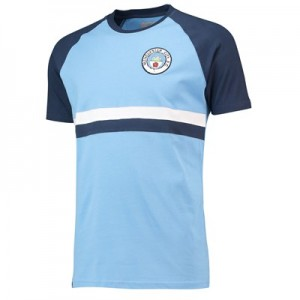 Manchester City HeritageChest Stripe Retro T-Shirt - Sky - Mens