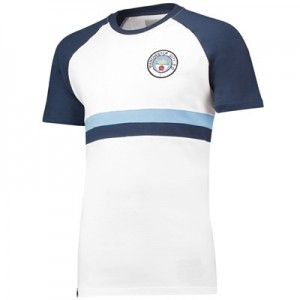 Manchester City Heritage Chest Stripe Retro T-Shirt - White - Mens