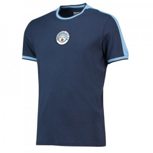 Manchester City Heritage Stripe shoulder Retro T-Shirt - Navy - Mens