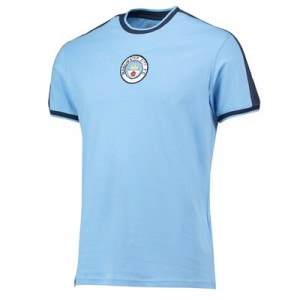 Manchester City Heritage Stripe shoulder Retro T-Shirt -Sky - Mens