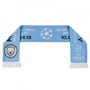 Manchester City UEFA Champions League 2017/18 Quarter Final Scarf - Sky - Adult