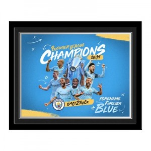 Manchester City Personalised Back 2 Back Champions Framed Print