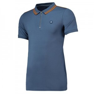 Manchester City Terrace Zip Front Polo Shirt - Mid Blue - Mens