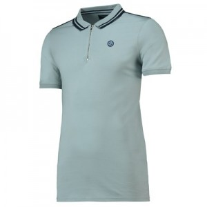 Manchester City Mens Terrace Zip Front Polo Shirt - Sky - Mens