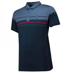 Manchester City Terrace Varied Stripe Polo Shirt - Navy - Mens