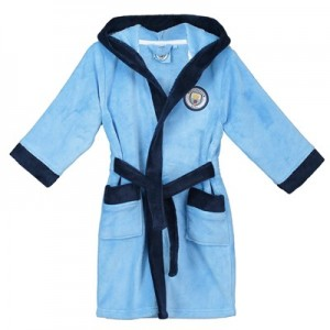 Manchester City Fleece Robe - Sky / Navy - Boys
