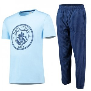 Manchester City Crest T  And Woven Bottom Lounge Set - Sky/ Navy - Mens