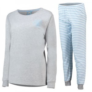 Manchester City Sweat And Jogger Lounge Set - Grey Marl/ Sky - Womens