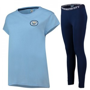 Manchester City Oversized T And Legging Lounge Set - Sky/ Navy - Womens