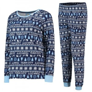 Manchester City Fairisle Christmas PJs - Navy/ Sky/ White - Womens