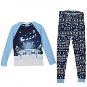 Manchester City Blue Moon Christmas PJs - Navy / Sky/ White - Girls