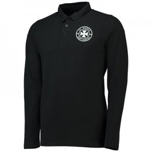 Manchester City St Marks Long Sleeve Polo - Black - Mens