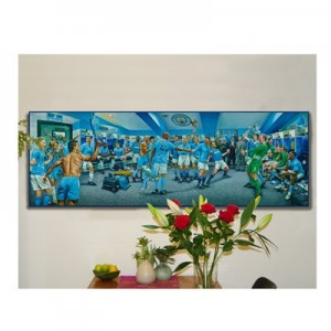 Manchester City Dream Scene Stretched Canvas Print - 130 x 43cm - Limited Edition