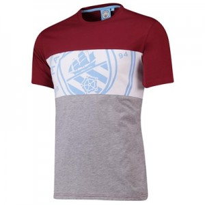 Manchester City Cut And Sew T-Shirt - Claret - Mens